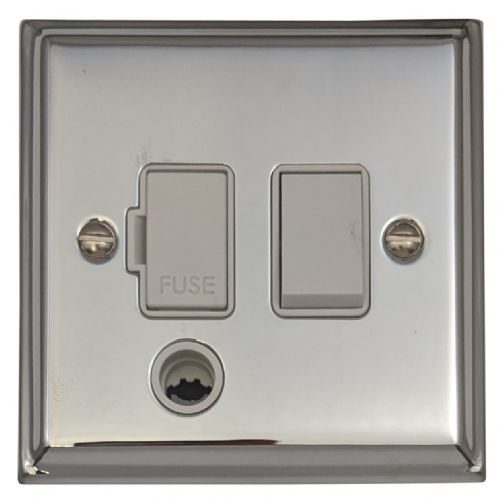 G&H DC56W Deco Plate Polished Chrome 1 Gang Fused Spur 13A Switched & Flex Outlet